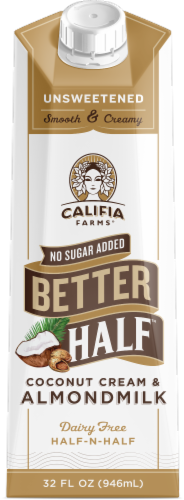 Califia Farms No Sugar Added Better Half Coconut Cream & Almond Milk Dairy Free Half-n-Half Perspective: front