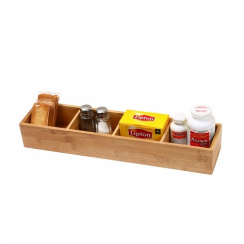 YBM Home 329 Bamboo Drawer Organizer With 3 Removable Dividers Perspective: front