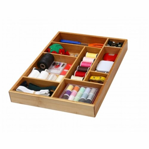 YBM Home 337 Bamboo Adjustable Drawer Organizer Perspective: front