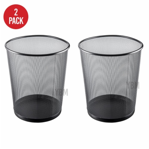 YBM Home 2484vc-2 4.75 gal Steel Mesh Round Open Top Waste Basket Wire Bin Trash Can Perspective: front