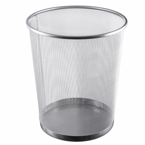 YBM Home 2485vc 4.75 gal Steel Mesh Round Open Top Waste Basket Wire Bin Trash Can Perspective: front