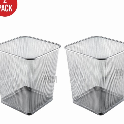 YBM Home 2488vc-2 4 gal Steel Mesh Square Open Top Waste Basket Wire Bin Trash Can Perspective: front