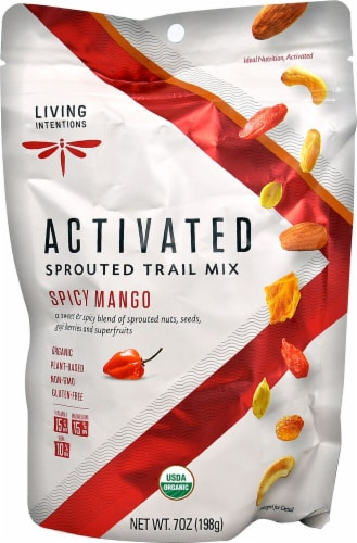 Living Intentions Organic Activated Spicy Mango Sprouted Trail Mix Perspective: front