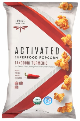 Living Intentions Activated Tandoori Turmeric Superfood Popcorn Perspective: front