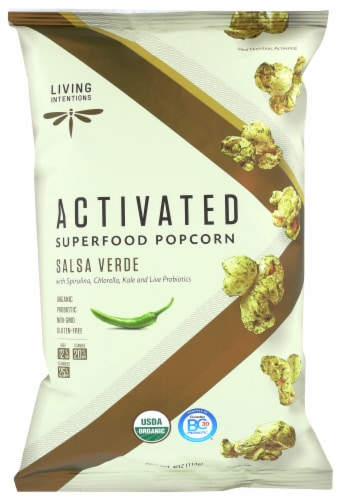 Living Intentions Activated Salsa Verde Superfood Popcorn Perspective: front