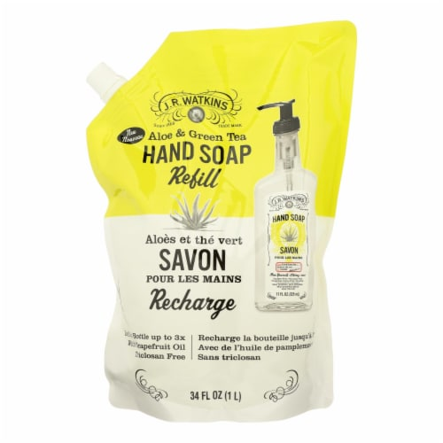 J.R. Watkins Aloe & Green Tea Liquid Hand Soap Refill Pouch Perspective: front