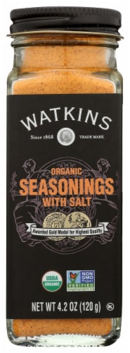 Watkins Organic Seasonings with Salt Perspective: front