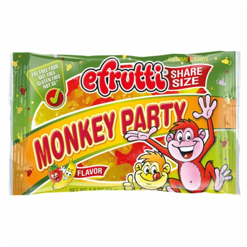 efrutti Monkey Party Strawberry Banana Flavor Gummi Candy Perspective: front