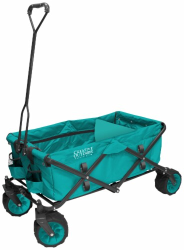 Creative Outdoor All-Terrain Folding Wagon - Teal Perspective: front