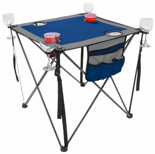 Creative Outdoor Folding Wine Table - Blue/Gray Perspective: front