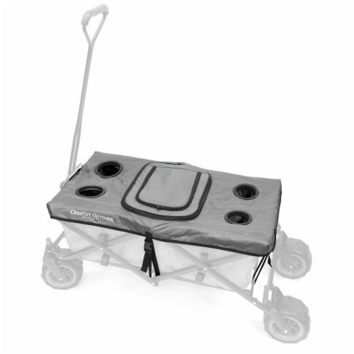 Creative Outdoor Tabletop Cooler Cover for Folding Wagon - Gray Perspective: front
