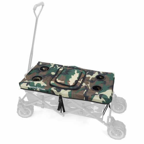 Creative Outdoor Tabletop Cooler Cover for Folding Wagon - Camo Perspective: front