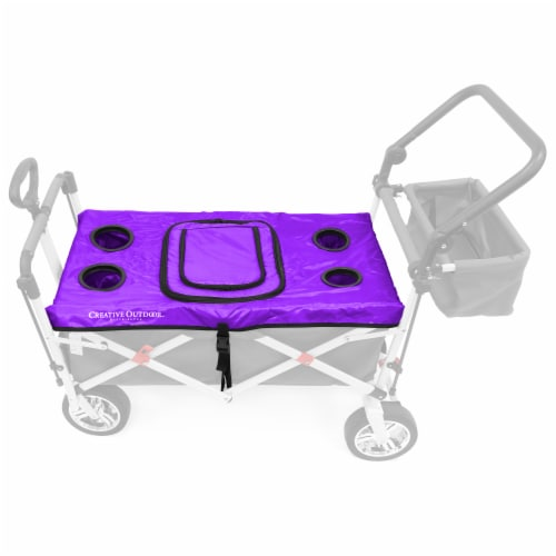 Creative Outdoor Tabletop Cooler Cover for Folding Wagon - Purple Perspective: front