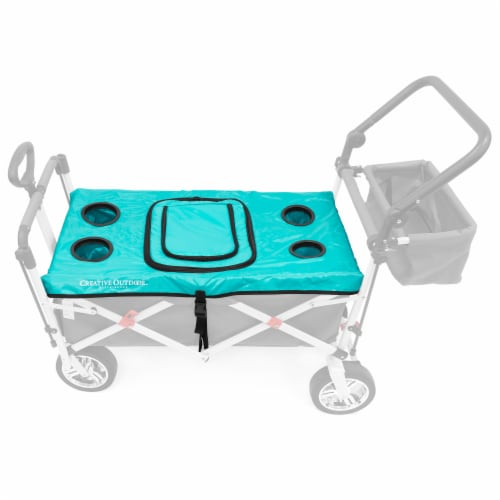 Creative Outdoor Folding Wagon Tabletop Cooler Cover - Teal Perspective: front