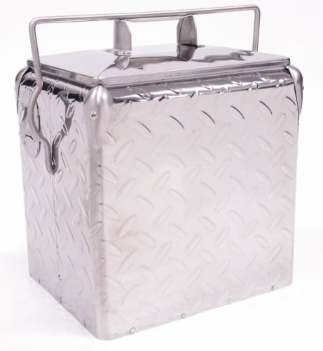 Creative Outdoor Retro 13L Cooler - Metallic Diamond Plate Silver Perspective: front