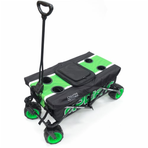 Creative Outdoor Sport All-Terrain Folding Wagon w/Tabletop Cooler - Green/Black Perspective: front