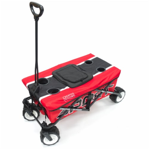 Creative Outdoor Sport All-Terrain Folding Wagon w/Tabletop Cooler - Red Perspective: front