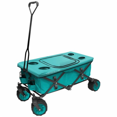 Creative Outdoor All-Terrain Folding Wagon w/Table - Teal Perspective: front