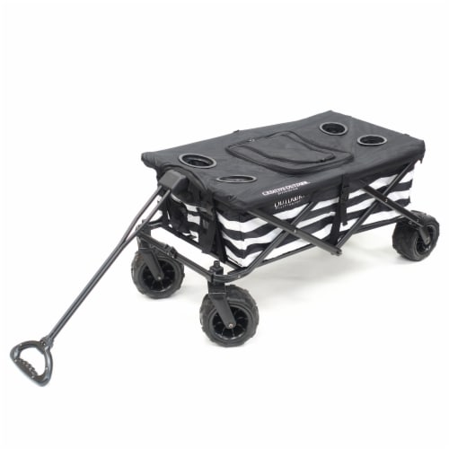 Creative Outdoor All-Terrain Folding Wagon w/TableTop Cooler - Black/White Perspective: front