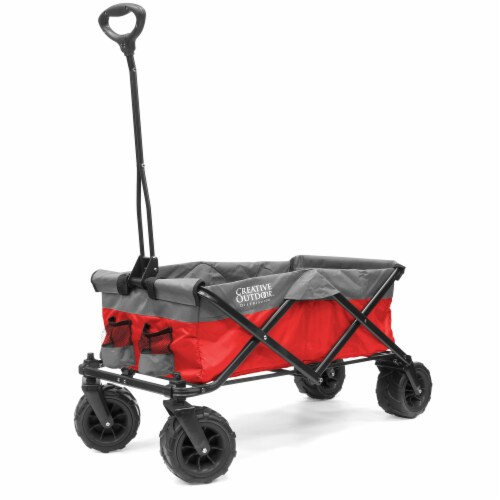 Creative Outdoor Platinum All-Terrain Folding Wagon - Red/Gray Perspective: front