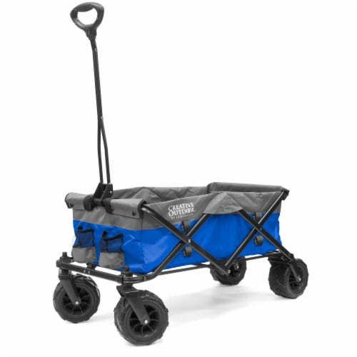 Creative Outdoor Platinum All-Terrain Folding Wagon - Blue/Gray Perspective: front