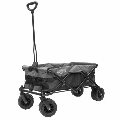Creative Outdoor Platinum All-Terrain Folding Wagon - Black/Gray Perspective: front