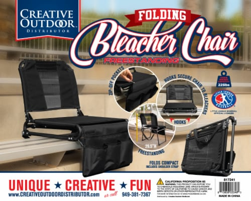 Creative Outdoor 2 in 1 Bleacher Folding Chair - Black Perspective: front