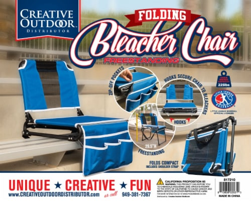 Creative Outdoor 2 in 1 Bleacher Folding Chair - Blue/Black Perspective: front