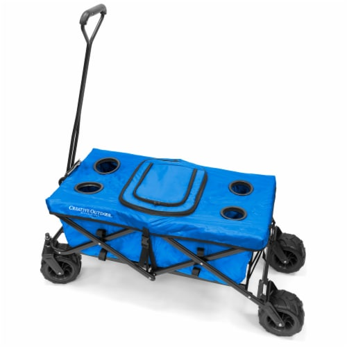Creative Outdoor All-Terrain Folding Wagon w/Table - Blue Perspective: front