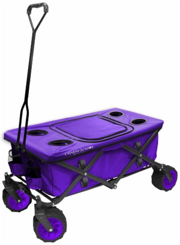 Creative Outdoor All-Terrain Folding Wagon w/Table TopCooler - Purple Perspective: front