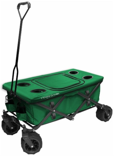 Creative Outdoor All-Terrain Folding Wagon w/Table - Green Perspective: front
