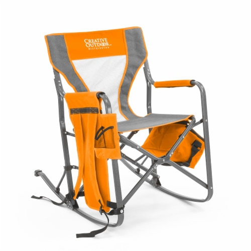 Creative Outdoor Rocking Folding Chair - Gray & Orange Perspective: front