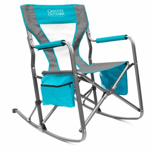 Creative Outdoor Rocking Folding Director Chair - Gray/Teal Perspective: front