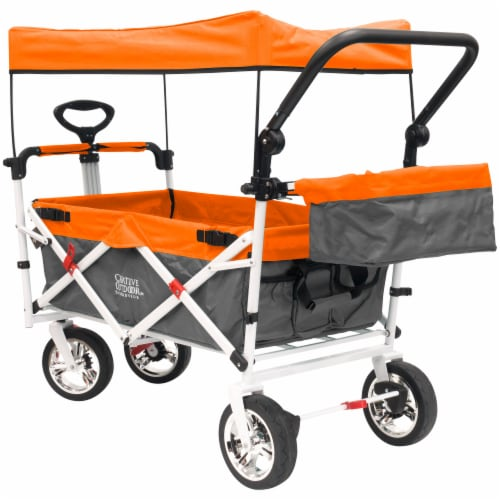 Creative Outdoor Silver Series Push Pull Folding Wagon Stroller with Canopy - Orange Perspective: front