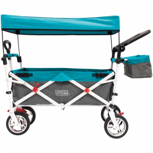 Creative Outdoor Silver Series Push Pull Folding Wagon Stroller with Canopy - Teal Perspective: front