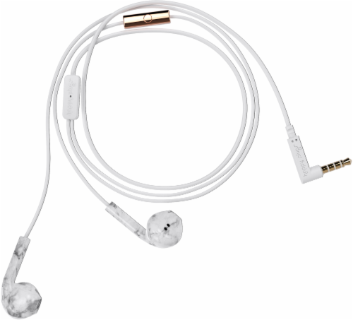 Happy Plugs Wired Earbuds Plus - White Marble Perspective: front