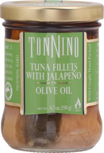 Tonnino  Tuna Fillets with Jalapeno iin Olive Oil Perspective: front