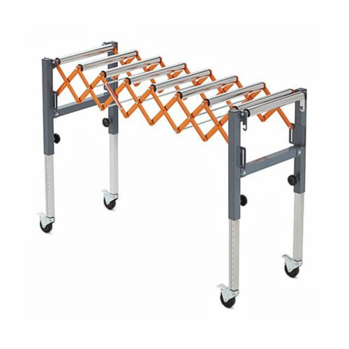 Bora Tool Conveyor Roller with Locking Casters and Adjustable Height and Length Perspective: front