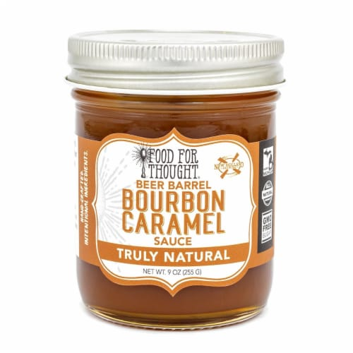 Bourbon Caramel Sauce; All Natural, GMO Free Perspective: front