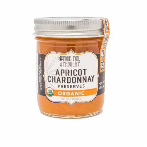 Food for Thought Organic Apricot Chardonnay Preserves Perspective: front