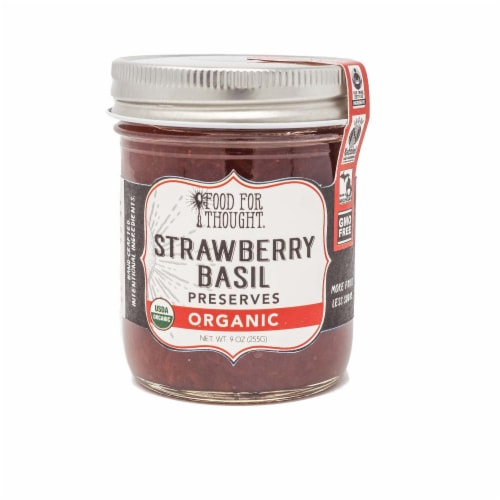 Strawberry Basil Preserves; Organic, All Natural, GMO Free, Gluten Free, Fair Trade Perspective: front