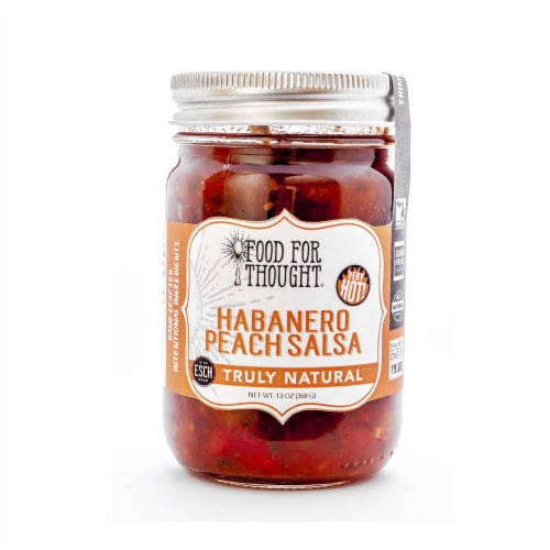 Habanero Peach Salsa; All Natural, GMO Free, Gluten Free Perspective: front