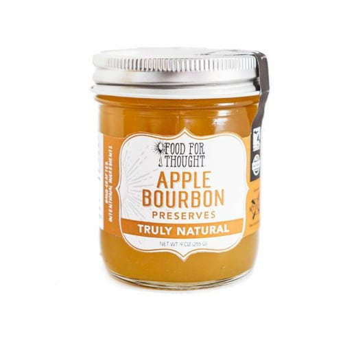 Apple Bourbon Preserves; All Natural, GMO Free Perspective: front