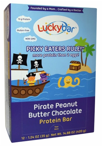 Luckybar Pirate Peanut Butter Chocolate Protein Bars Perspective: front