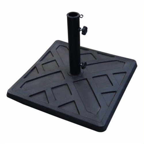 Walker Edison Square Umbrella Base in Black Perspective: front