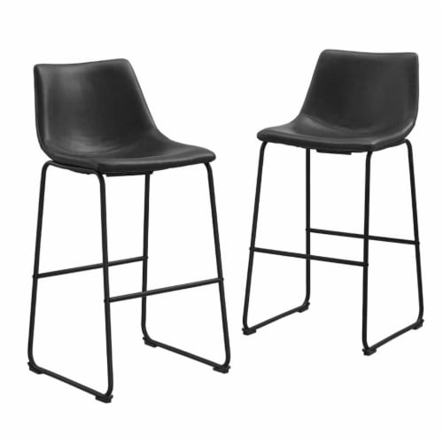 Faux Leather Bar Stool in Black (Set of 2) Perspective: front