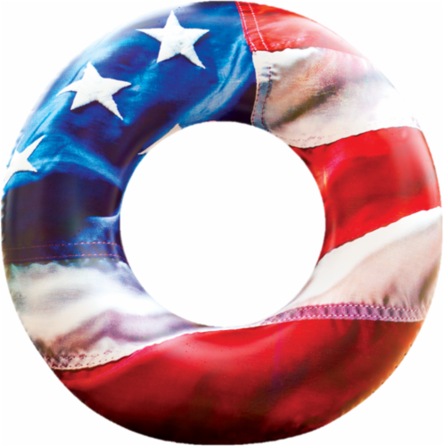 PoolCandy Stars and Stripes Inflatable Beach and Pool Tube - Red/White/Blue Perspective: front