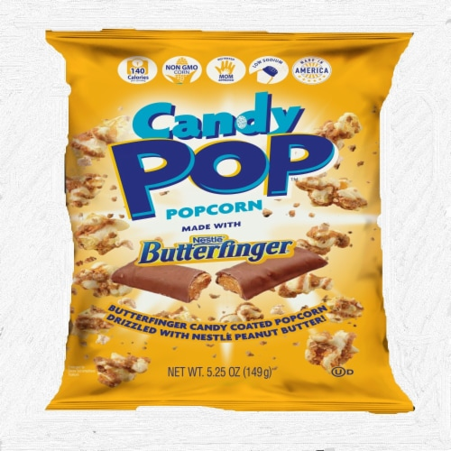 Candy Pop Butterfinger Candy Coated Popcorn Perspective: front
