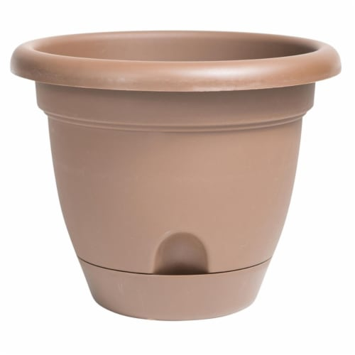 Bloem LP1245 12 in. Lucca Self Watering Planter, Chocolate Perspective: front