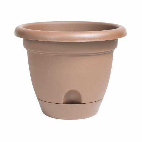 Bloem LP1645 16 in. Lucca Self Watering Planter, Chocolate Perspective: front